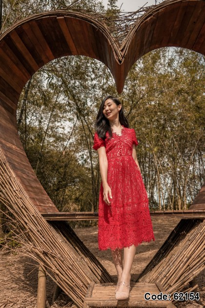 62154 – Mitchell Embroidery Lace Dress (Red)