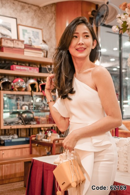 62169 – Jaqueen Inclined Shoulder Dress (White)