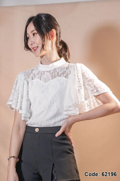 62196 - Heather Lace Top (White)